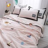 韓式可水洗毛巾繡夏涼被(含枕套)-粉橘帆船【BUNNY LIFE邦妮生活館】