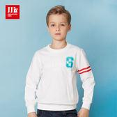 JJLKIDS 男童 美式街頭造型圓領純棉T(本白)