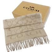 【COACH】2018新款大C LOGO 喀什米爾羊毛混蠶絲流蘇圍巾(米色)