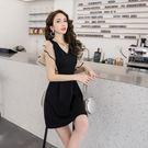 VK精品服飾 韓系修身V領喇叭袖網紗拼接名媛短袖洋裝