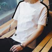 男士ins短袖t恤潮流圓領半袖男裝韓版文藝簡約衣服修身體恤潮 黛尼時尚精品