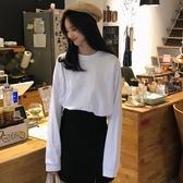 春秋新款韓版純棉白色t恤女長袖寬鬆百搭上衣圓領內搭打底衫 錢夫人