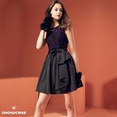 【SHOWCASE】甜美花蕾絲蝴蝶結綁腰俏麗澎裙無袖短洋裝(紫蕾絲)