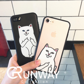 【R】中指貓 情侶 iphone 7 Plus 蘋果7 個性 創意 掛繩 全包 防摔 貓咪 iphone7/8plus 保護套