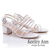 ★2019秋冬★Keeley Ann時尚膠片 透視三條帶方跟涼鞋(白色) -Ann系列