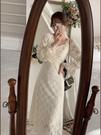 年會禮服 法式復古方領年會禮服氣質超仙女白色蕾絲連衣裙子春新款【快速出貨八折搶購】