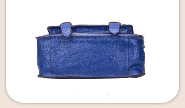 【O-ni O-ni】真皮新款郵差手提包女士豎款方型側肩包HLY-8631-淺藍色