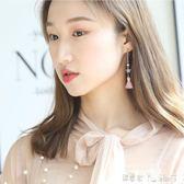 耳環 銀飾 粉色耳環女氣質韓國個性百搭耳墜 耳釘純銀女 「潔思米」