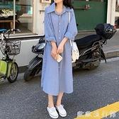 襯衫洋裝 網紅寬鬆條紋長袖襯衫連衣裙女秋季2021新款韓版小個子顯高裙子潮 歐歐