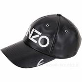 KENZO 字母補丁按扣調整設計牛皮棒球帽(黑色) 1910238-01