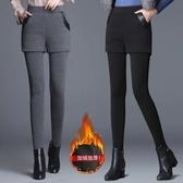 假兩件褲裙 [不起球]加絨加厚假兩件打底褲女冬外穿彈力短褲裙保暖高腰小腳褲 交換禮物