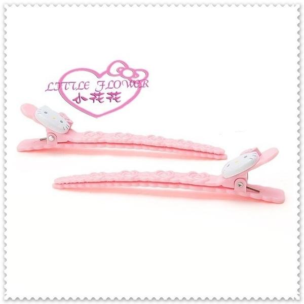 小花花日本精品♥Hello Kitty 前髮長夾組 長夾組 髮飾 側邊夾 髮夾 粉色大臉玫瑰 08417503