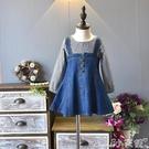 女童牛仔裙女童春秋連身裙新款時尚套裝公主兒童背帶裙假兩件牛仔裙子潮4010
