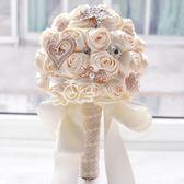 新娘手捧花 仿真手工布藝緞帶玫瑰花