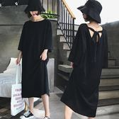 大碼女裝2018夏裝新款胖mm遮肚子長裙寬鬆V領漏背黑色連身裙200斤 東京衣櫃