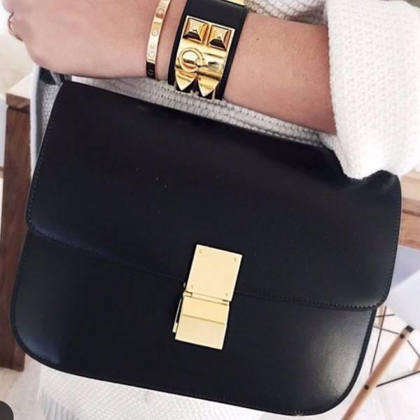 ■專櫃85折■Celine 189173 中款黑色頂級犢皮CLASSIC BOX 手袋