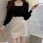 法式復古泡泡袖針織衫皮裙套裝女高腰半身裙兩件套春秋款夏潮快速出貨