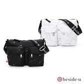 beside u BMB雲彩大理石系列雙口袋大容量印花側背包 - 黑色、白色 原廠公司貨