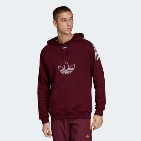 Adidas Originals Flock Trefoil Hoodie 酒紅 長袖 帽T 男(布魯克林) 2019/1月 DU8114