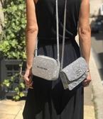 ■專櫃66折■ Balenciaga 全新真品561507 BB 標誌浮雕WOC小牛皮銀鍊皮夾