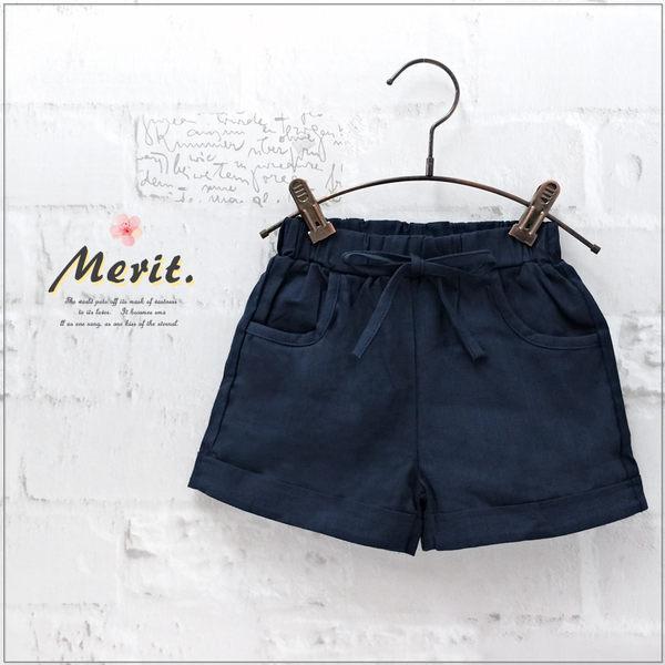 純棉 綁帶簡約反摺棉麻短褲 鬆緊腰 反摺 口袋 女童【哎北比童裝】
