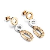 耳環 玫瑰金 925純銀鑲鑽-優美鏤空生日情人節禮物女飾品73gs55【時尚巴黎】