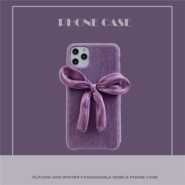 蘋果11Pro Max手機套 清新ins紫色蝴蝶結iPhone6/6s/7/8/XR保護殼 IPhone SE手機殼 蘋果X/Xs Xs Max保護套