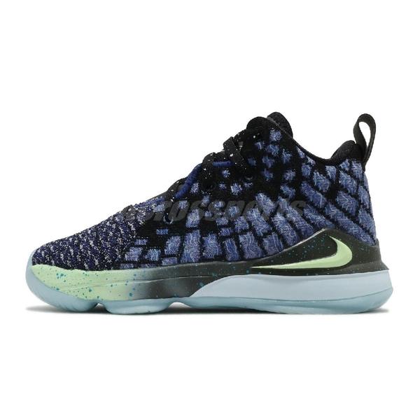 Nike 籃球鞋 LeBron XVII PS 17 Constellations 黑 藍 童鞋 中童鞋 詹皇 運動鞋 【ACS】 BQ5595-407