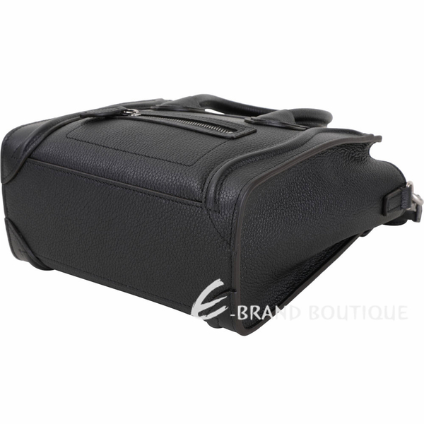 CELINE Nano Luggage 敲打小牛皮兩用冏包(黑色) 1910112-01