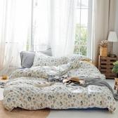 【eyah】台灣製200織精梳棉單人床包新式兩用被四件組-當時的綻放