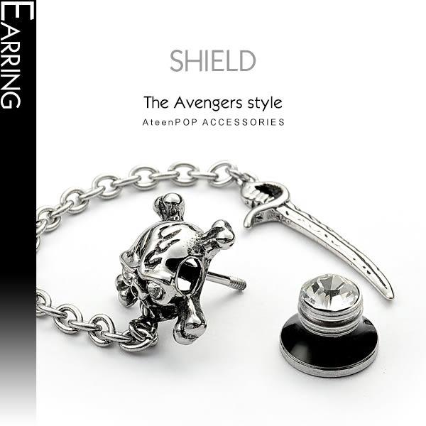 鋼耳環ATeenPOP西德鋼骷髏長劍 栓扣式 兩面皆可戴*單邊單個價格*