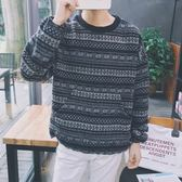 長袖T恤-休閒圓領寬鬆民族風花紋男上衣2色73qd29【巴黎精品】