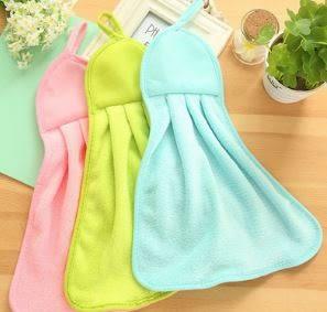 可掛式廚房衛生間純色超強吸水速乾擦手巾 / 珊瑚絨擦手布 9元