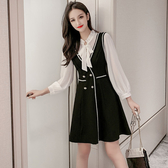 VK精品服飾 韓國風甜美背心蝴蝶結小黑裙套裝短袖裙裝