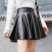 半身裙女 韓版皮短裙高腰顯瘦百搭a字裙蓬蓬裙百褶裙 美好生活居家館