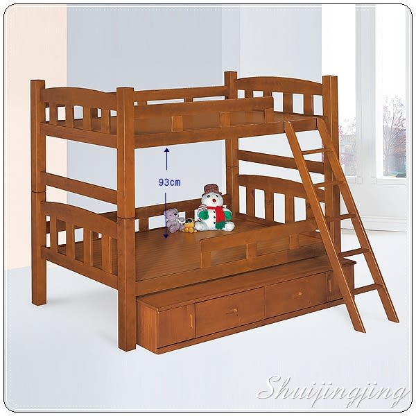 【水晶晶家具/傢俱首選】CX9409-2凱特3.5呎實木柚木色安全高間距//93cm//雙層床~~附置物櫃