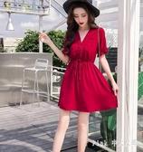 2020新款女裝裙子仙女超仙甜美法式復古矮個子夜店洋裝高腰流行連身裙 DR35785【Pink 中大尺碼】