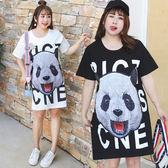 ★韓美姬★中大尺碼~熊貓圖案刺繡貼長版短袖T恤上衣(XL~4XL)