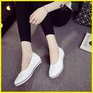 布鞋 護士鞋白色坡跟美容鞋小白鞋布鞋...