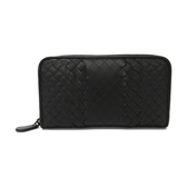BOTTEGA VENETA 寶緹嘉 黑色羊皮ㄇ字型拉鍊長夾Zippe Arround Wallet 【BRAND OFF】