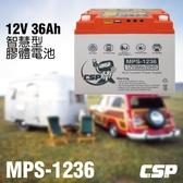 【CSP】MPS1236智慧型膠體電池12V36Ah/露營.攤販.釣魚.3C充電.12V電器.太陽能(MPS-1236)