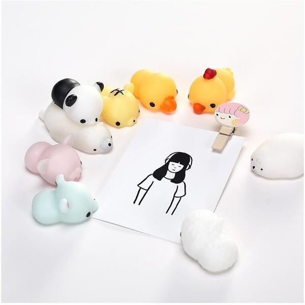 【葉子小舖】Q彈小動物擺飾/可愛玩偶/兔子/熊貓/獅子/小熊/小雞/鴨子/療癒可愛玩具