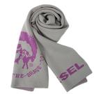 DIESEL經典LOGO龐克圖案窄版圍巾(灰色)381000
