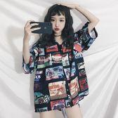 襯衣女韓版bf風復古ins港風polo衫上衣寬鬆短袖襯衫學生  伊莎公主