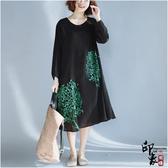 大尺碼洋裝加肥大尺碼女復古文藝印花中長長袖連身裙 降價兩天
