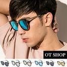 OT SHOP太陽眼鏡‧方形墨鏡UV400韓系金屬膠框顯小臉‧亮黑反光黑玫瑰金碎花現貨‧N28