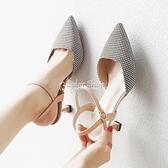 包頭涼鞋女新款夏季少女一字扣帶高跟鞋女網紅細跟百搭女鞋 快速出貨