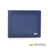 【BRAUN BUFFEL】HOMME-B系列卵石紋可翻式12卡短夾 -墨藍 BF192-B322-NY