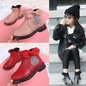 大碼女童短靴 女童靴子新款皮靴馬丁靴兒童英倫風小公主短靴寶寶馬丁靴 qf15230【小美日記】