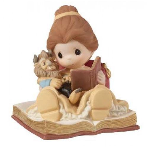 《Precious Moments》DISNEY迪士尼美女與野獸共讀故事水滴娃娃瓷偶-Happily Ever After_PX03011